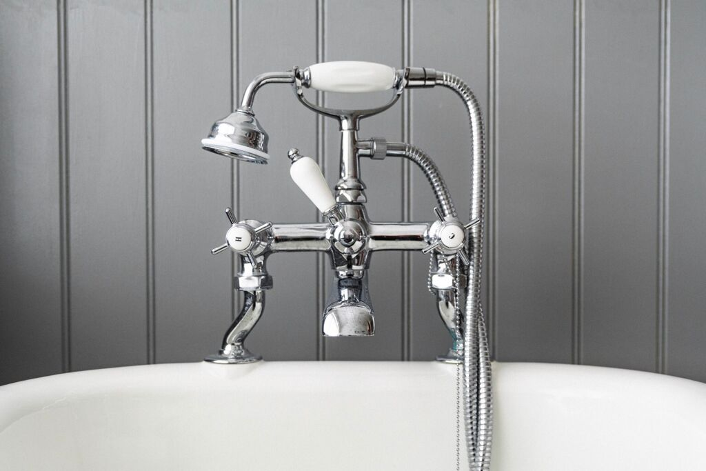 Modern fancy shower on gray background