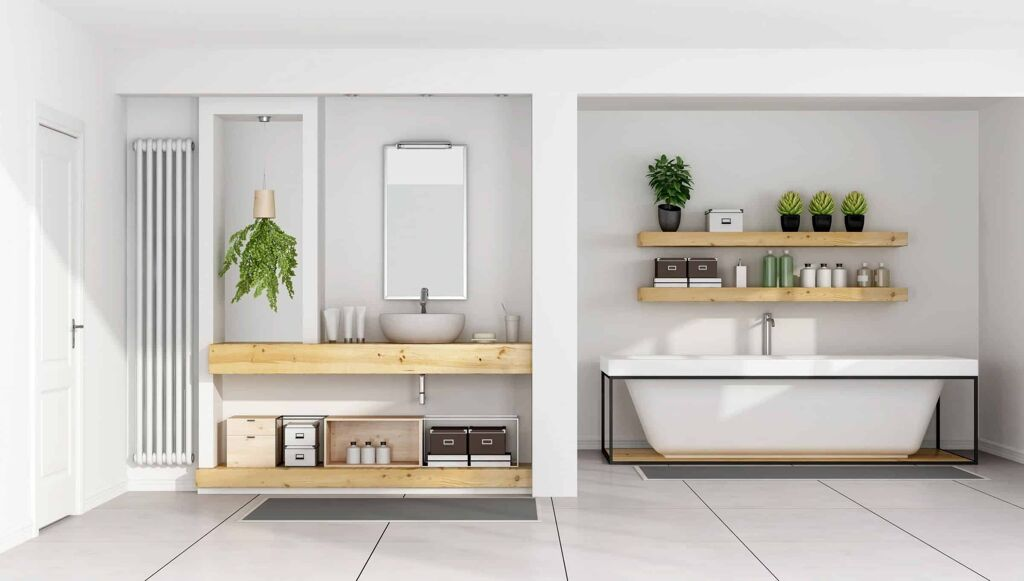 Modern White Bathroom with wooden surfaces - PHR Plumbing