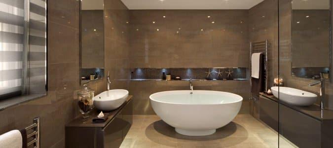 Modern Bath with white round bathtub - PHR Plumbing